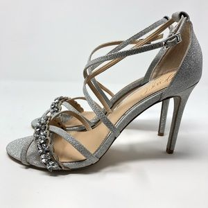 Badgley Mischka silver straps high heels size 8